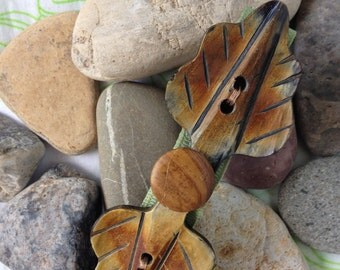 Wooden Leaves Buttons Hair Barrette, Brown Wood Leaves Hair Clip One of a Kind