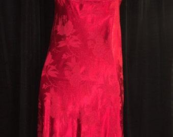 1970s Disco Dress Red Satin Brocade size 5/6