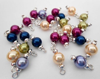 Multi-Color Glass Pearl Dangle Beads