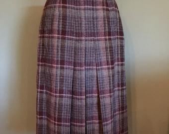 60's Wool Plaid Skirt, size XS/S