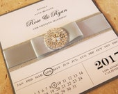 Sparkling Save the Date Card    Save the Date Calendar     Luxury Wedding Calendar  SET of 25 Silver Save the Date   Crystal calendar