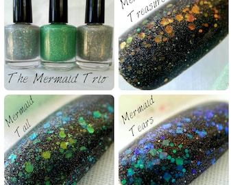 NEW! Pick ANY of the Mermaid Trio ~ 3 Holographic Color Shift Glow in the Dark Polishes