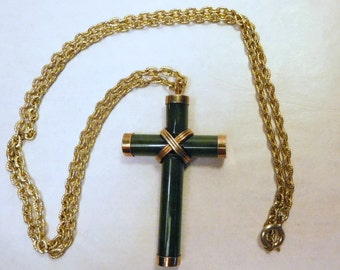 Vintage Green Glass Cross - Wrapped & Capped - Christian Jewelry Necklace Pendant