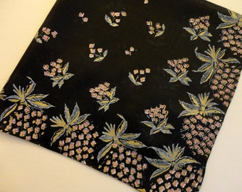"""VINTAGE Hankie 1950s - Black, clusters of tiny pink flowers with gray leaves and gold highlights, """"Magic Blend Rayon & Silk Made in Japan"""""""