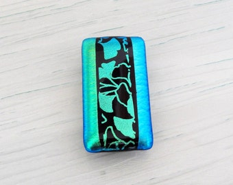 Money Clip Dichroic Fused Glass Money Clip Mens Gifts Womens Accessories Mens Jewelry Ginkgo Leaves Green Blue Gifts for Him Gifts for Her