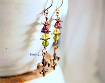 Mardi Gras Earrings,  Swarovski Crystals, Cooper Fleur De Lis Beaded Pierced Earrings. OOAK Handmade Earrings. CKDesigns.US