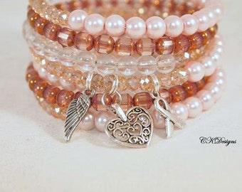 Breast Cancer Awareness Charm Bracelet, Pink Glass Beaded Cuff Bracelet, Breast Cancer Memory Wire Bracelet. Handmade Bracelet. CKDesigns.US