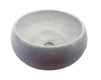 Round Gray Concrete Sink UB8, unusual sink, overtop washbasin