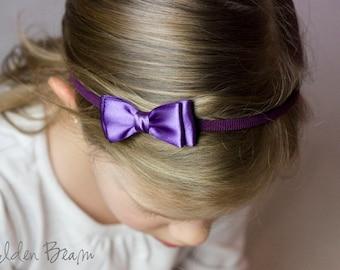 Purple Olivia Baby Bow Headband - Flower Girl Headband - Girls Headband - Purple Olivia Satin Bow Handmade Headband - Baby to Adult Headband