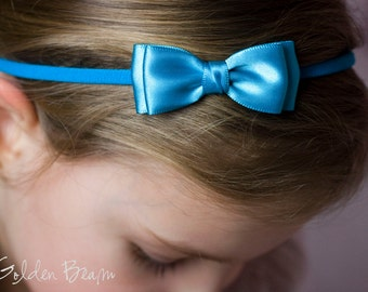 Turquoise Olivia Baby Bow Headband - Flower Girl Headband - Turquoise Olivia Satin Bow Handmade Headband - Baby to Adult Headband