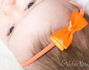 Orange Olivia Baby Bow Headband - Flower Girl Headband - Girls Headband - Orange Olivia Satin Bow Handmade Headband - Baby to Adult Headband