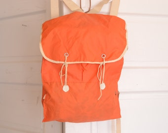 Vintage 70's Orange Light Weight Nylon Backpack Rucksack / ITEM420