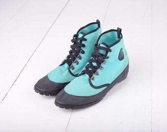 Vintage Esprit Teal High Top Lace Up Sneakers, Womens EUR 39, US 8 / ITEM249