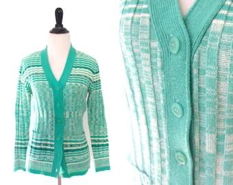 Vintage 1970's Green Striped Knit Cardigan Size Medium