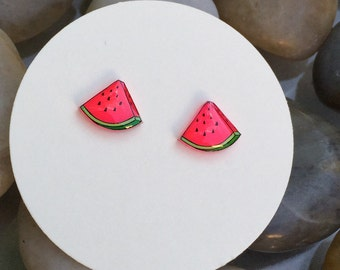 Watermelon earrings, fruit jewelry, food jewelry, shrink plastic, shrinky dink