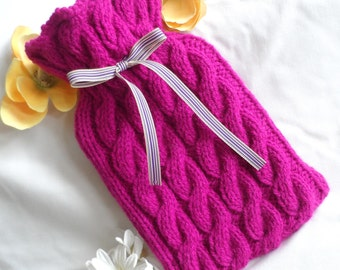 Hand knitted small hot water bottle cover