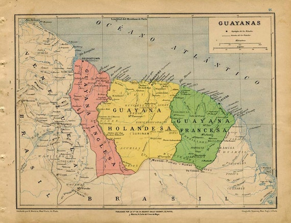 RESERVED 1912 Antique Map of The Guianas or Guayanas