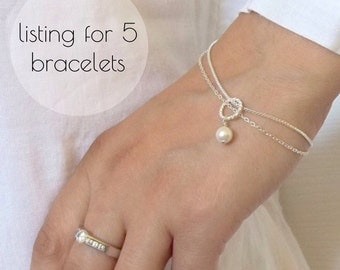 Set of 5 Bridesmaids Pearl Bracelet , Swarovski Pearl Bracelet, Gift Jewelry maid of honour Mother of the bride,  Pearl jewelry