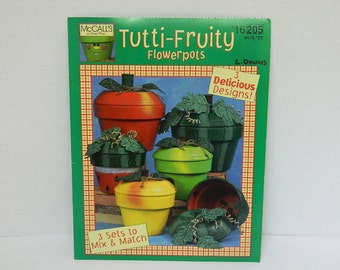 Hand Painted Pots Pattern and Instructions - Tutti-Fruity Flower Pots - Painting Clay Pots - McCalls Make it Easy Pattern - Fruit  Designs
