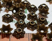 60 pcs per pack 6x2mm 6mm opening Small Beads Cap Antique Bronze Finish Lead Free Pewter