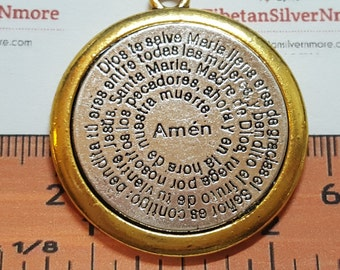 1 pc per pack 37mm Reversible Ave Maria Prayer Gold trim 2 tone Medallion Antique Silver Lead free Pewter