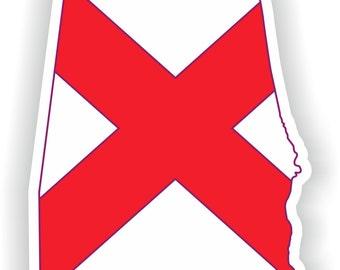 Alabama Map Flag Silhouette Sticker for Laptop Book Fridge Guitar Motorcycle Helmet ToolBox Door PC Boat