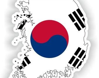 South Korea Map Flag Silhouette Sticker for Laptop Book Fridge Guitar Motorcycle Helmet ToolBox Door PC Boat