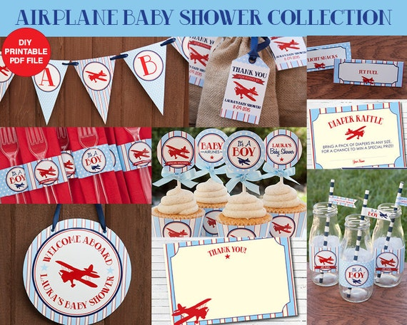 Airplane baby shower decorations package boy baby shower for Airplane baby shower decoration ideas