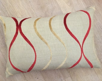 Natural linen in beige with raised red and putty wavy line velvet stripes large rectangle / lumber accent cushion cover in Harlequin fabric