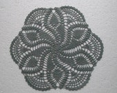 Grey-blue round crochet doily. tablecloth . lace table top. placemat. 13 inches