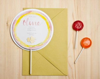 Lollipop Birthday Invitations Watercolor Party Invites Sweets Theme Invitation Set Party Stationery