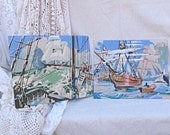 Vintage Nautical Paint by Number Pair Schooner Ships Retro Mid Century Aqua Blue Sea Theme Vintage Home Decor Wall Hangings