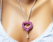 Crystal Heart Necklace in Pink