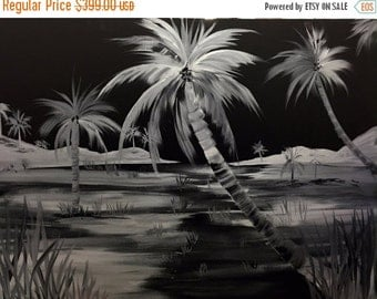 "Sale ENORMOUS Oil Landscape Abstract Original  ""Tropical Nights""oil painting  by Nicolette Vaughan Horner"
