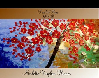 "Oil Landscape painting Abstract Original Modern palette knife 48"" Red Blossom Tree  impasto oil painting by Nicolette Vaughan Horner"