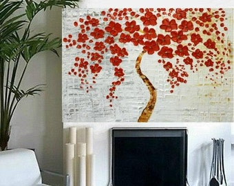 Oil LandscapeTree painting Abstract Original Modern 40x30 palette knife Red Blossoms  impasto oil painting by Nicolette Vaughan Horner
