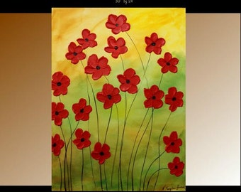 """Oil Landscape painting Abstract Original Modern 30"""" palette knife Red Floral oil impasto oil painting by Nicolette Vaughan Horner"""