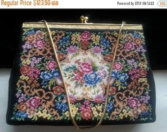 Christmas In July Sale Black Flowered Clutch Handbag * Antique Evening Bag * 1940's 1950's Collectible Purse * Petit Point Purse