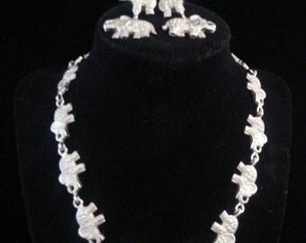 Now On Sale Fun elephant necklace earring set vintage Demi parure