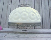 "Moon & Stars MILK GLASS Lamp SHADE Victorian Parlor 14"" fitter Oil Kerosene Gas - Replacement Globe - L.E. Smith Glass Company"