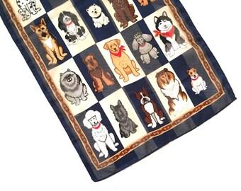 Satin Dog Scarf - Womens Scarf - Vintage Scarves Women - Gift for Dog Lover