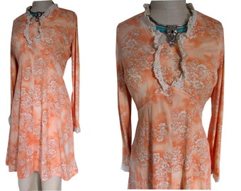 Orange Floral Dainty Print 60's Bohemian Prairie Hippie California Lace Dress