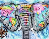 Wanderlust. elephant painting, world map, vintage map, travel art, one love, watercolor map, abstract map, compass, tattoo, map painting