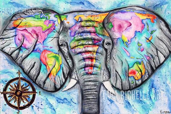 Wanderlust elephant painting world map vintage map travel like this item gumiabroncs Choice Image