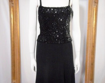 Vintage 1970's Black Knit Dress with Sequined Top - Size Medium