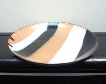 Vintage Enamel Ashtray - Gold Black & White Enamel Ashtray - Coffee Table Cigarette Ashtray - 1970s Vinyl HBO - Industrial - 1970s Enamel