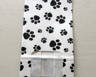 10 Paw Print on White with Window Tin Tie (Coffee) Bags (3-3/8x2-1/2-7-3/4)