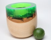 Handcrafted Natural Bark Edge Oak Wood Turned Clear Green Resin Top; Wedding Housewarming Gift Wooden Bowl Collectible Art Gift Box Included