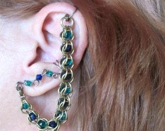 Bajoran Crystal & Blue GoldStone Chainmaille No Piercing Ear Cuff