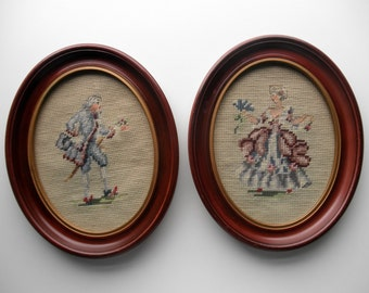Needlepoint Pictures Lord & Lady Courtship Oval Frames Renaissance Colonial Man Woman 50s Midcentury Cottage Shabby Chic Home Decor
